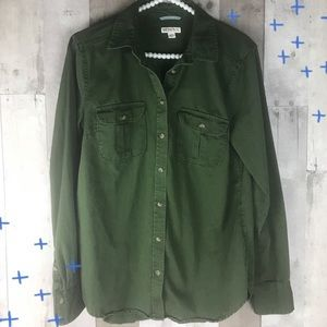 Merona forest green button up long sleeve top M